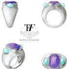 Bague Amethyste et opale bleue Trésor By Flore Aout
